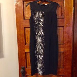 T Tahari Black Mesh Snakeskin Sheath Dress Size 4